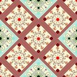 Modèle géométrique sans couture, diamants avec fleurs colorées peu communes Photographie stock libre de droits