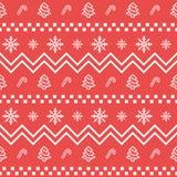 Modèle géométrique sans couture réglé d'icône de Noël Fond d'éléments de vacances de Noël et d'hiver Texture plate de vecteur de  Photographie stock