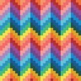 Modèle geomatric abstrait sans couture de vecteur de zigzag d'arc-en-ciel de pixel Images stock