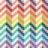 Modèle geomatric abstrait sans couture de vecteur de zigzag d'arc-en-ciel de pixel Images libres de droits
