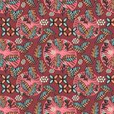 Modèle Girly des feuilles et du feuillage d'automne avec le fond sans couture de style de motif de batik illustration stock