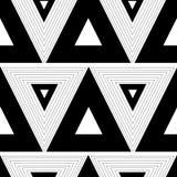 Modèle graphique abstrait blanc noir avec le CCB sans couture de triangles Photos libres de droits