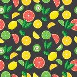 Modèle gris sans couture avec les fruits lumineux illustration stock