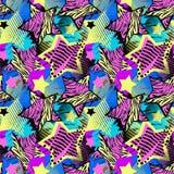 Modèle grunge approximatif sans couture de t-shirtl abstrait de fille, DES moderne Illustration Stock