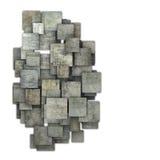 modèle grunge de la tuile 3d carrée grise sur le blanc Images libres de droits