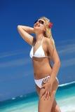 Modèle heureux sur la plage tropicale image stock