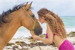 Modèle hispanique And Horse de brune photo libre de droits