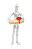 Modèle humain de mannequin argenté avec un cadeau à disposition Photos libres de droits