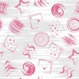 Modèle impétueux de peinture tirée par la main géométrique sans couture de grange dedans Fond carré de cercle de triangle illustration libre de droits
