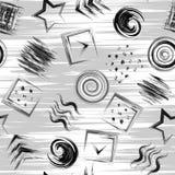 Modèle impétueux de peinture tirée par la main géométrique sans couture de grange dedans Fond carré de cercle de triangle illustration de vecteur