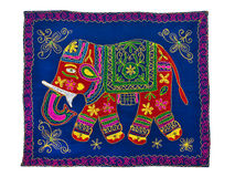 Modèle indien traditionnel de broderie Éléphant Image libre de droits
