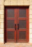 Modèle islamique sur la porte en bois Image libre de droits