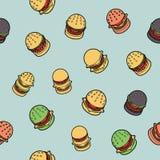 Modèle isométrique d'ensemble de couleur d'hamburgers Images stock