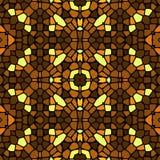 Modèle jaune-brun de tuile de mosaïque kaléïdoscopique sans couture Photo stock
