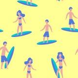 Modèle jaune sans couture des surfers pour la copie illustration stock