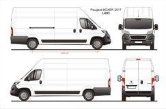 Modèle L4H3 de Van de livraison de cargaison de boxeur de Peugeot 2017 Image stock
