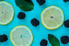 Modèle lumineux coloré des feuilles, des mûres et du citron Photographie stock libre de droits