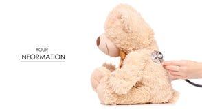 Modèle médical disponible de médecine de stéthoscope d'ours de jouet image libre de droits