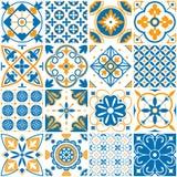 Modèle méditerranéen Modèles sans couture décoratifs de Lisbonne Éléments ornementaux pour le vecteur de tuiles de mosaïque de dé illustration libre de droits