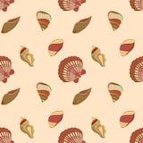 Modèle marin de coquillage dans des couleurs neutres illustration stock