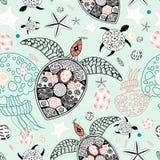 Modèle marin des crânes et des étoiles illustration stock