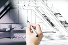 Modèle masculin de chambre à coucher de dessin de main illustration libre de droits