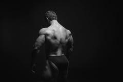 Modèle masculin musculeux montrant le sien arrière Photos libres de droits