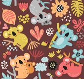 Modèle mignon avec des koala, des fleurs et des branches Photo stock