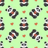 Modèle mignon avec le panda et les coeurs Photo stock