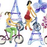 Modèle mignon d'aquarelle, filles sur des vélos Fond sans couture photographie stock libre de droits