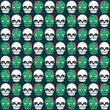 Modèle mignon de Halloween avec le crâne et le zombi Photos stock