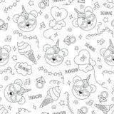 Modèle mignon de panda sur un fond blanc Modèle sans couture d'ensemble noir et blanc Dessin pour des vêtements d'enfants, T-shir illustration stock