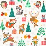 Modèle mignon de région boisée de Noël avec les animaux heureux de bande dessinée Photo stock