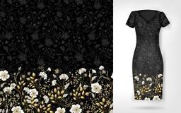Modèle mignon en petites fleurs simples Le fond sans couture et la frontière sans couture sur le dossier différent pose Un exempl illustration stock