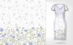 Modèle mignon en petites fleurs simples Le fond sans couture et la frontière sans couture sur le dossier différent pose Un exempl Image stock