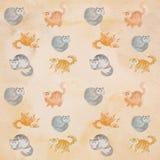 Modèle mignon sans couture d'aquarelle de chats Image libre de droits