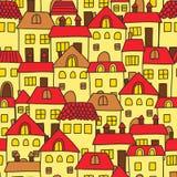 Modèle mignon sans couture de bande dessinée avec des maisons Illustration de Vecteur