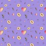 Modèle mignon sans couture de bande dessinée du ` s de Valentine fait avec amour Photo libre de droits