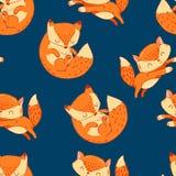 Modèle mignon tiré par la main de Fox de bande dessinée sans couture Photos stock