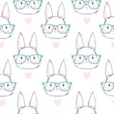 Modèle mignon tiré par la main de lapin sans couture, illustration de vecteur Conception d'impression Images stock