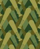 Modèle militaire de batte de baseball sans couture Solénoïde kaki de bâton de sports illustration stock