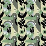 Modèle moderne de vecteur avec des oiseaux et des usines illustration libre de droits