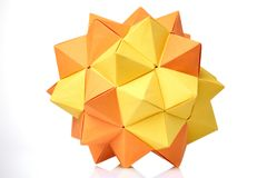 Modèle modulaire d'origami sur le blanc Photo libre de droits