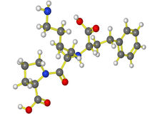 Modèle moléculaire de lisinopril Images stock