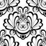 Modèle monochrome sans couture de damassé de vecteur Image libre de droits
