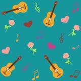 Modèle musical sans couture avec des guitares et des roses Photos stock