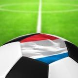 Modèle néerlandais de drapeau d'un ballon de football dans l'herbe verte Photographie stock libre de droits