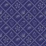 Modèle nautique de coquillage dans le bleu marine et le blanc illustration stock