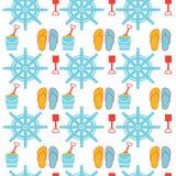 Modèle nautique de Marine Slippers Summer Shoes Seamless Photographie stock libre de droits