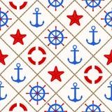 Modèle nautique sans couture avec des éléments de thème de mer Images stock